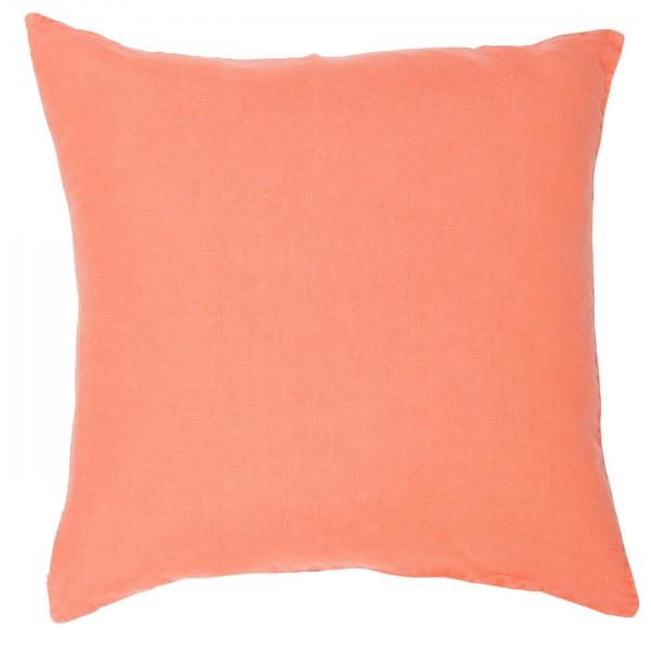 Pudebetræk i orange hør (50 x 50 cm)