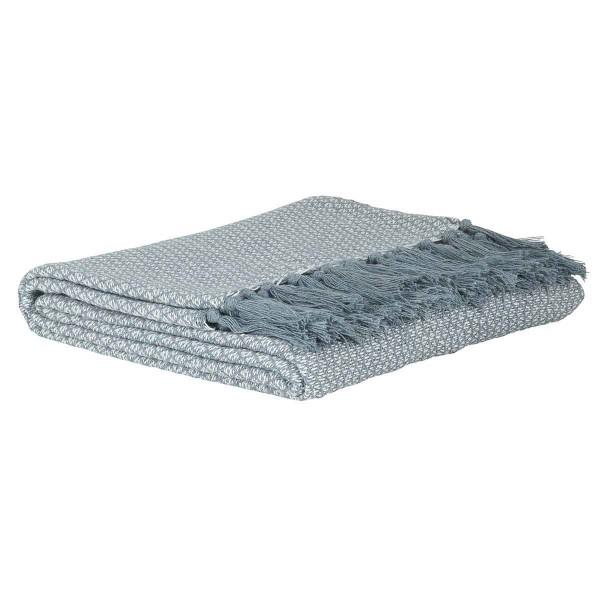 Bomuldsplaid hvid/grå (gråblåt)