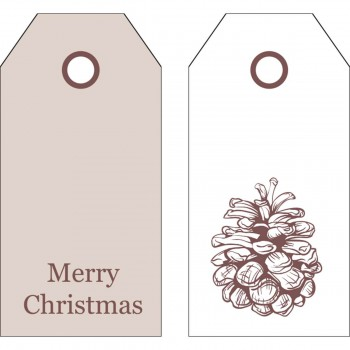 Manillamærker med kogle & Merry Christmas (12 stk.)