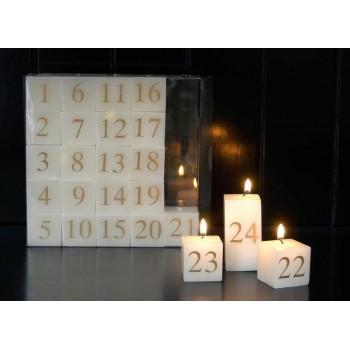Kube kalenderlys med sølvtryk
