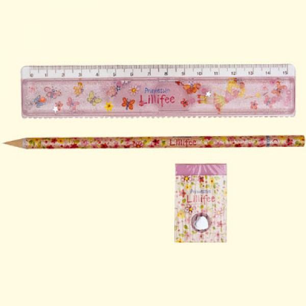 Lineal, blyant og viskelæder